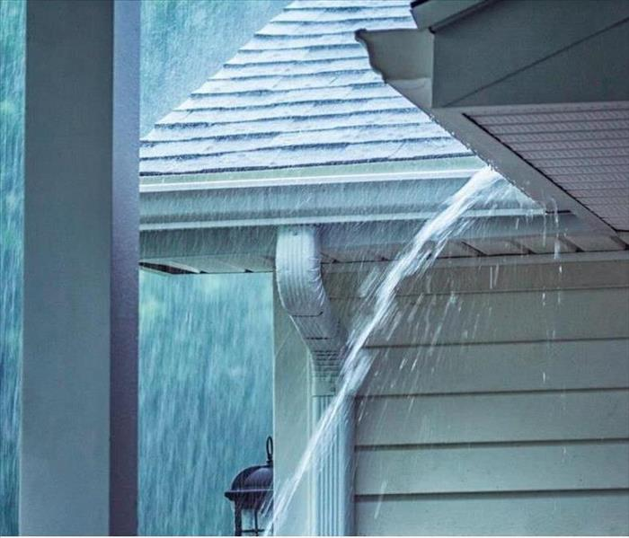 rainwater coming down from gutter